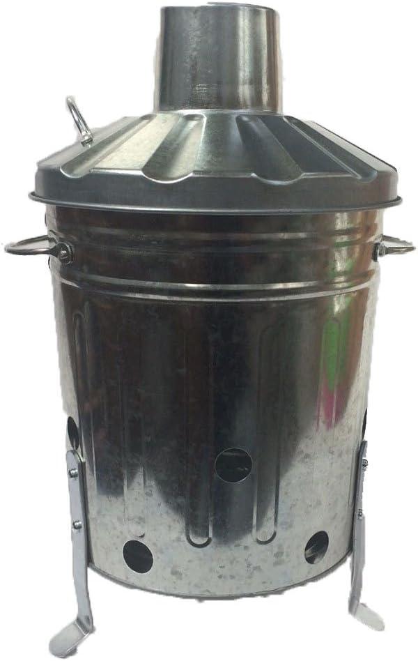 15 litros 15L pequeño Mini Metal galvanizado incinerador reciclar jardín basura fuego BinWith: Amazon.es: Jardín
