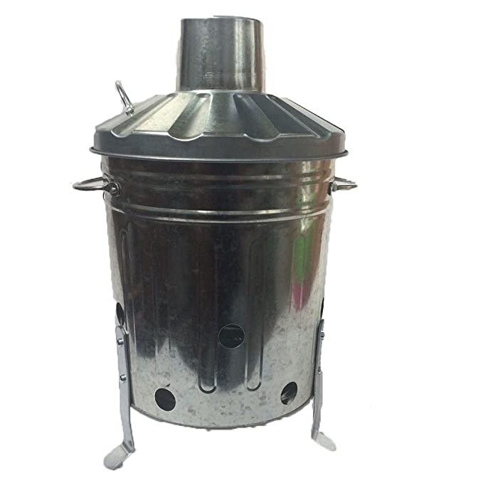 15 litros 15L pequeño Mini Metal galvanizado incinerador reciclar jardín basura fuego BinWith libre Poker: Amazon.es: Jardín