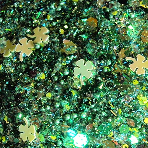 Custom & Fancy Approx 0.5 Teaspoon of Small Nail Art Glitter Confetti Made of Premium Mylar w/ St Patrick's Day 4 Leaf Clover Shape Lucky Shamrock Sparkling Dust Mix Design [Green & Yellow Color]]()