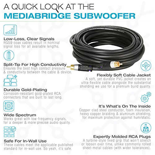 Mediabridge ULTRA Series Subwoofer Cable (75 Feet) - Dual Shield - Gold Plated - Black - (Part# CJ75-6BR-G1 ) by Mediabridge (Image #4)