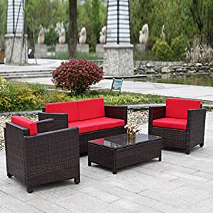 ikayaa 4pcs salón de jardín de resina trenzada Patio exterior muebles (Set jardín césped sofá sofá ratán Set armadura