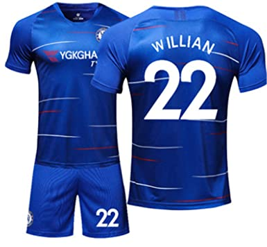 a233f481 LISIMKE Soccer Team 2018/19 Chelsea Home Willian #22 Mens Replica&Shorts  Kid Youth Replica