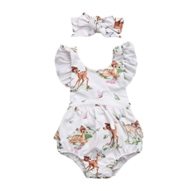 60de32894cae CHshe 2Pcs Newborns Baby Girl Princess Christmas Deer Summer Romper Jumpsuit  Headband Party Outfits Clothes for 0-18 Months Beige  Amazon.co.uk  Clothing