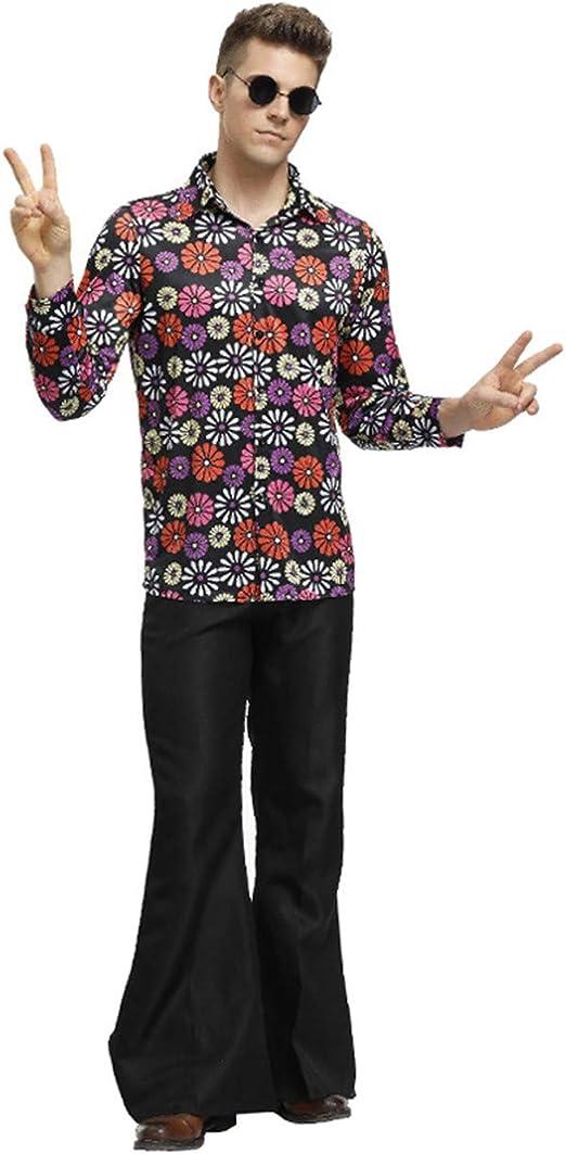 HONGBI Disfraz Retro de los 70, con Estampado Psicodélico, Camisa y Pantalones de Campana,Hombre(Shirts+Pants),M: Amazon.es: Productos para mascotas