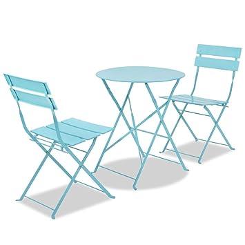 Lingjiushopping trois pièces en acier Salon de jardin Bleu Couleur ...