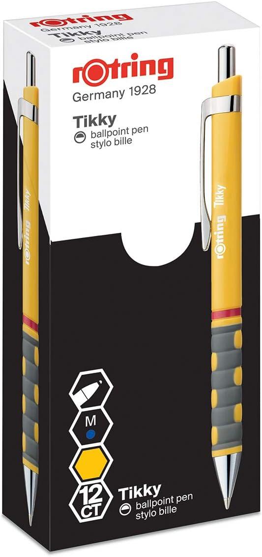 Rotring Tikky Retractable Ballpoint Pen Pack of 12 Black Barrel