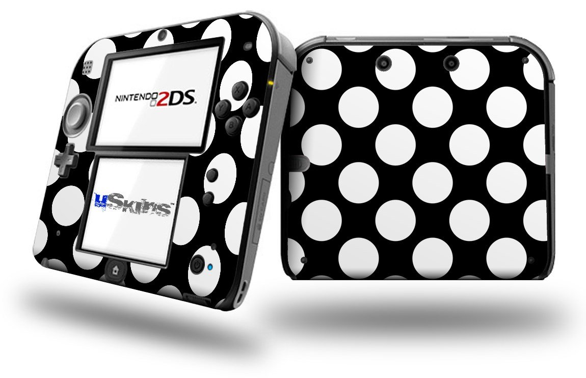 Kearas Polka Dots White On Black - Decal Style Vinyl Skin fits Nintendo 2DS - 2DS NOT INCLUDED