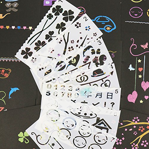(Drawing and Painting Stencils,Drawing Stencils for Kids,16PCS Stencils for Planner/Bullet Journals,Face/Rock/Wood Painting,Card Making,Scrapbooking)
