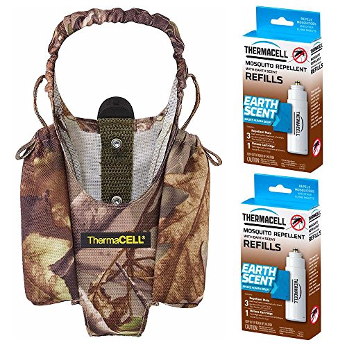 Realtree Thermacell Mosquito Repellent (Thermacell Realtree Xtra Camo Holster and Two E-1 Earth Scent Repellent Refill Packs)