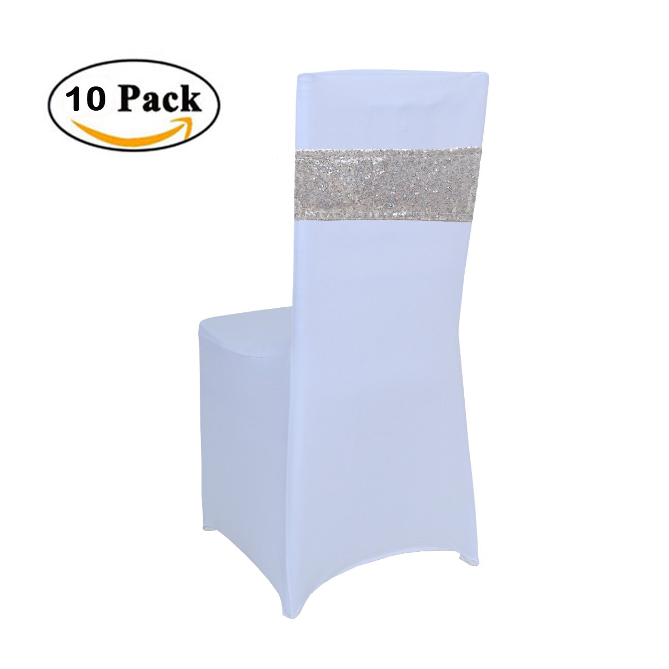 Rose Gold GFCC 4x16inch Pack of 10 pcs Sequins Sash Chair Cover Band for Wedding Party Decoration Soft Sashes