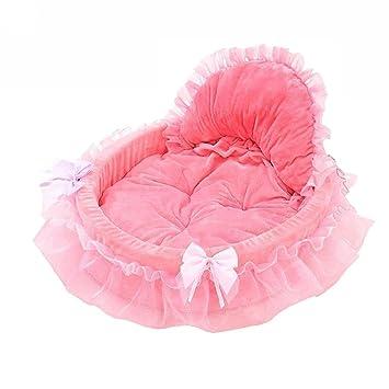 quanjucheer Cama de encaje suave para perro, cachorro, gato, perro, princesa Bowknot Doghouse cálida cesta de la cama cojín para mascota: Amazon.es: ...