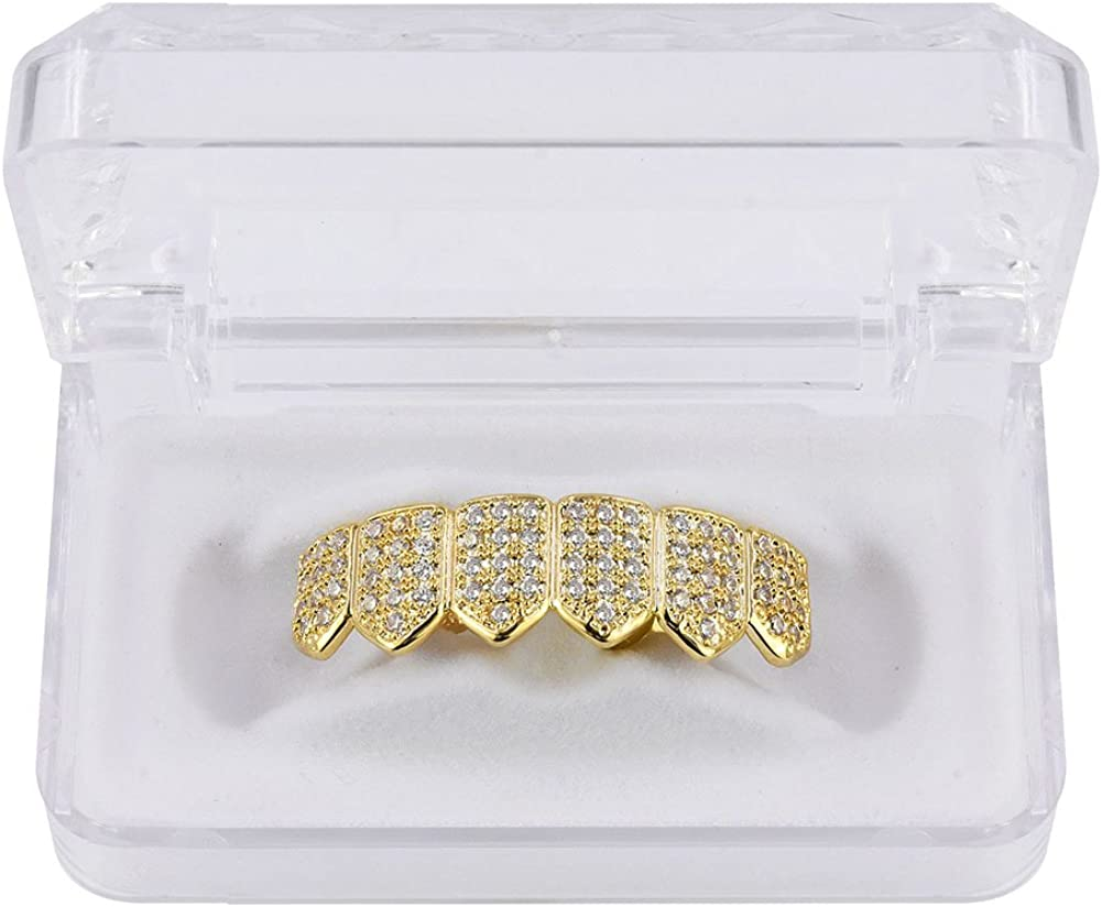 TOPGRILLZ 18K Gold Plated Iced Out CZ Zircon Lower Bottom Grillz for Teeth with 2 Extra Molding Bars Hip Hop