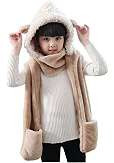 7e39d1169a5 Kids Teens Girls 3 in 1 Warm Plush Fluffy Cartoon Winter Hats Scarf Mitten  Gloves with