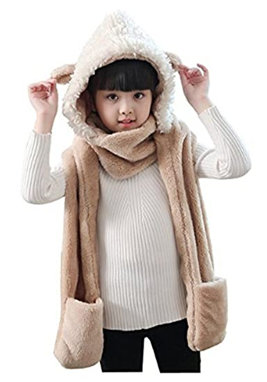 988297a808c Amazon.com  Kids Teens Girls 3 in 1 Warm Plush Fluffy Cartoon Winter Hats  Scarf Mitten Gloves with Pockets Hoodie Cap Costume Gift  Clothing