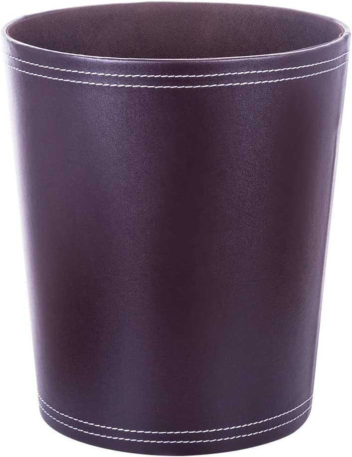 XSHION Waste Basket Office, 1.8 Gallon Round Garbage Bin Desk Side Trash Can PU Leather Dustbin 9.64 X 7.87 X 11.02 Inch (Coffee)