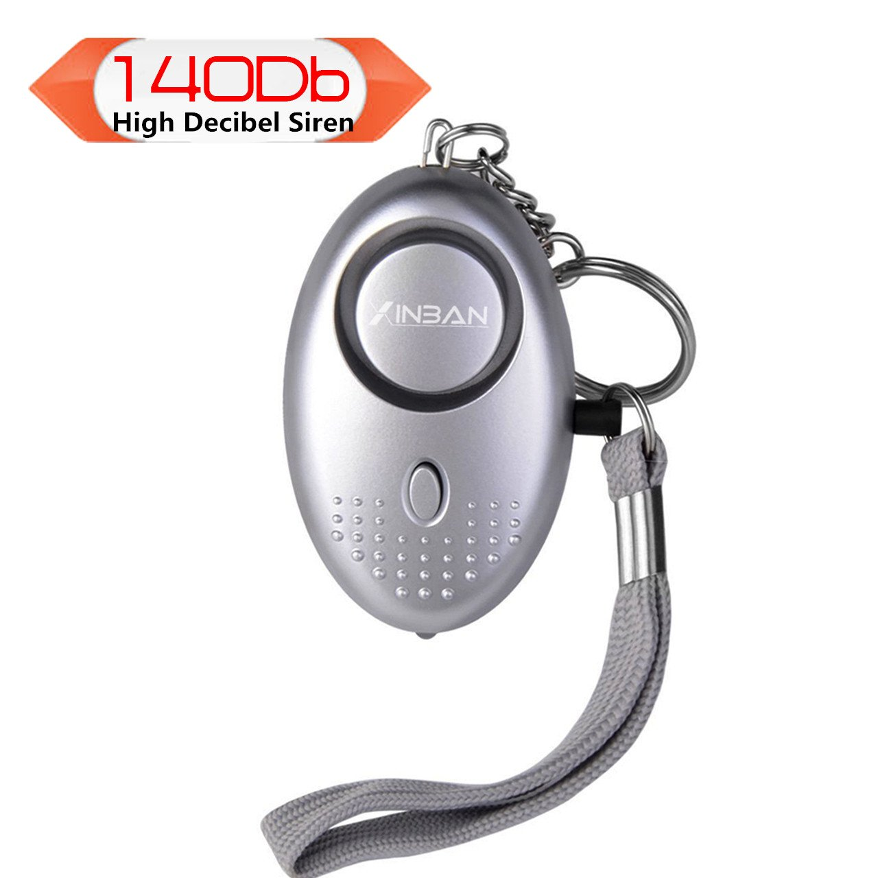 Persönlicher Schlüsselalarm Personenalarm 140dB für Frauen Panikalarm Schlüsselanhänger Sirene, mit LED Fackel(1er Silber)