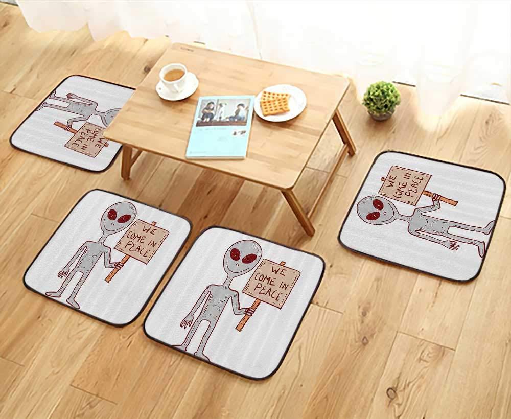 Printsonne Modern Chair Cushions Martian Creature with Peace Phrase Solar Revoluti Galaxy Convenient Safety and Hygiene W23.5 x L23.5/4PCS Set