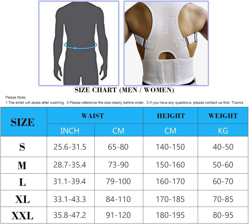 Magnet Back Brace Posture Corrector Relieves Pain Upper and Lower Back for Men and Women White, Large Fully Adjustable Support Belt Improves Posture and Provides Lumbar Back Brace
