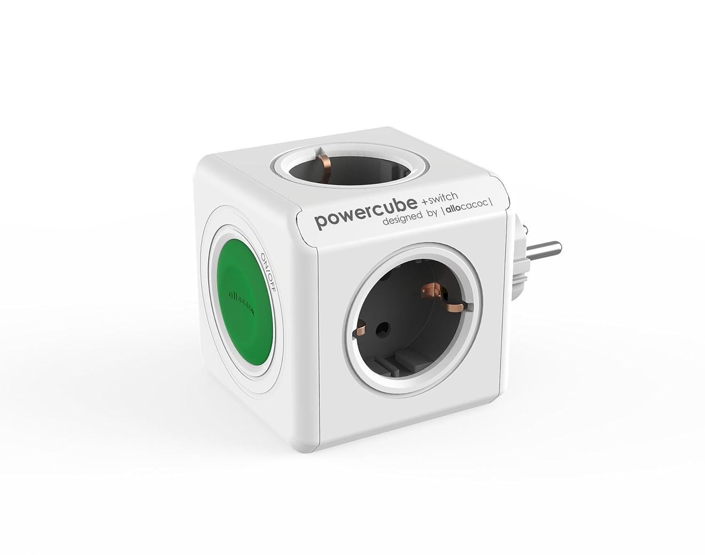 Allocacoc PowerCube Switch Original, Adaptador de Viaje con Interruptor, 4 enchufes Ahorro de energí a, 230 V schuko 4enchufes Ahorro de energía 230V schuko 1101/DEORSW