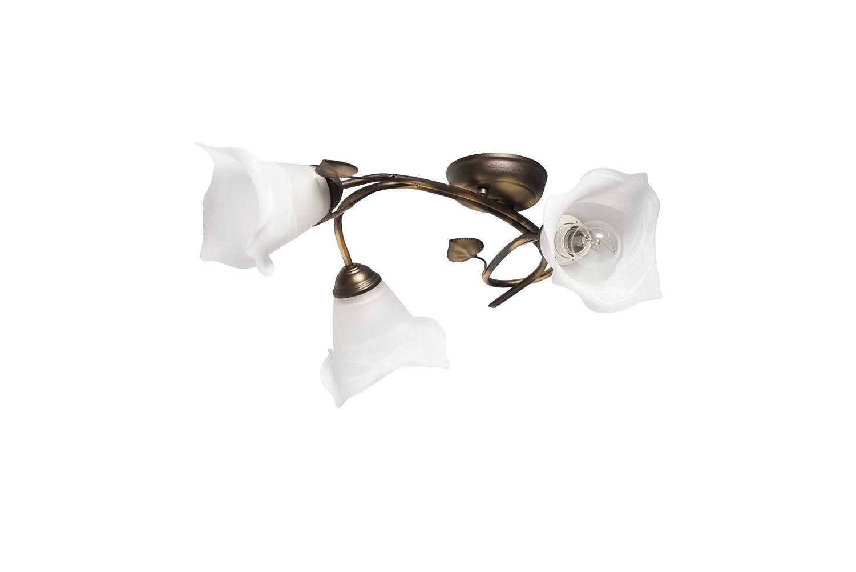 Florale Deckenleuchte (B70cm, Floral, Jugendstil, Weiß, Gold, Blütenkelch, Blütendeko, 3-flammig) Innenlampe Jugendstilleuchte Innenlampe 3-flammig) Flurlampe Deckenlampe 91e9dd
