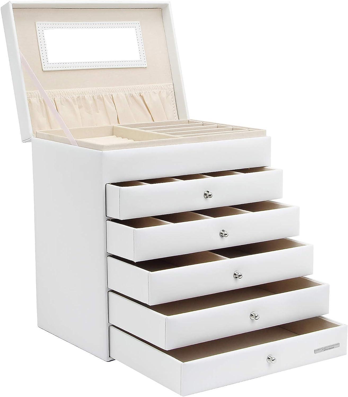 Yorbay Caja de joyería Blanco de Cuero con 5 cajones, Bloqueo y Espejo entegrado en la Tapa Reutilizable