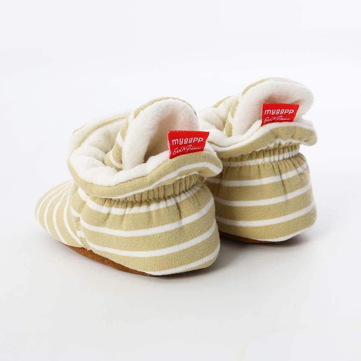 Tutoo Infant Baby Boy Girl Cozy Fleece Bootie Newborn Stay On Slipper Sock Soft Sole Gripper Non-Skid Crib Shoe First Birthday Shower Gift