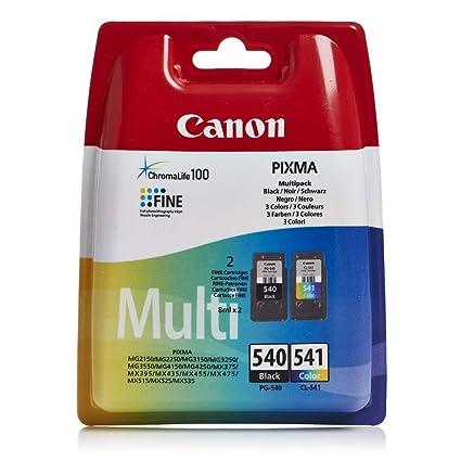 Canon PG-540+CL-541 Cartucho multipack de tinta original negro y tricolor para impresora de inyeccion de tinta Pixma