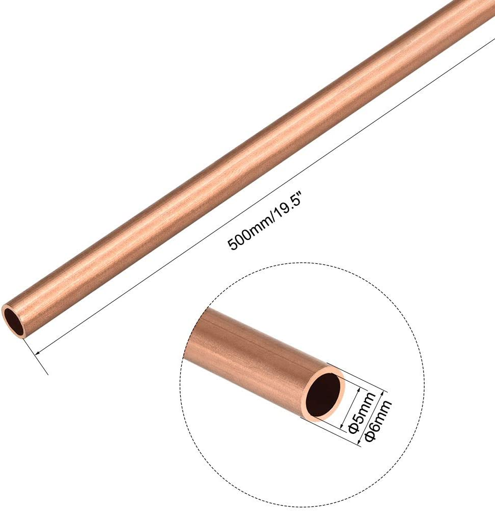 sourcing map 1.5mm Outside Diameter X 1mm Inside Diameter 500mm Long Copper Round Tube Pipe