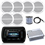Pyle PATVR14 MP3/MP5 Bluetooth Marine Boat Yacht Stereo Receiver Bundle Combo With 6x Enrock White 6.5 Inch 200-Watt Stereo Speaker + Radio Antenna + 400 Watt Amplifier + 18G 50-FT Speaker Wire