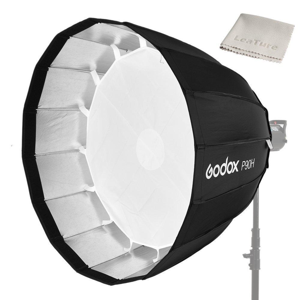 Godox P90ポータブルパラボリックソフトボックス、90cm(36インチ)、Bowenウント付きヘキサデカゴンソフトボックス ,スタジオライトとスピードライトフラッシュを適用する(P90H) P90H  B07BK2JTK9
