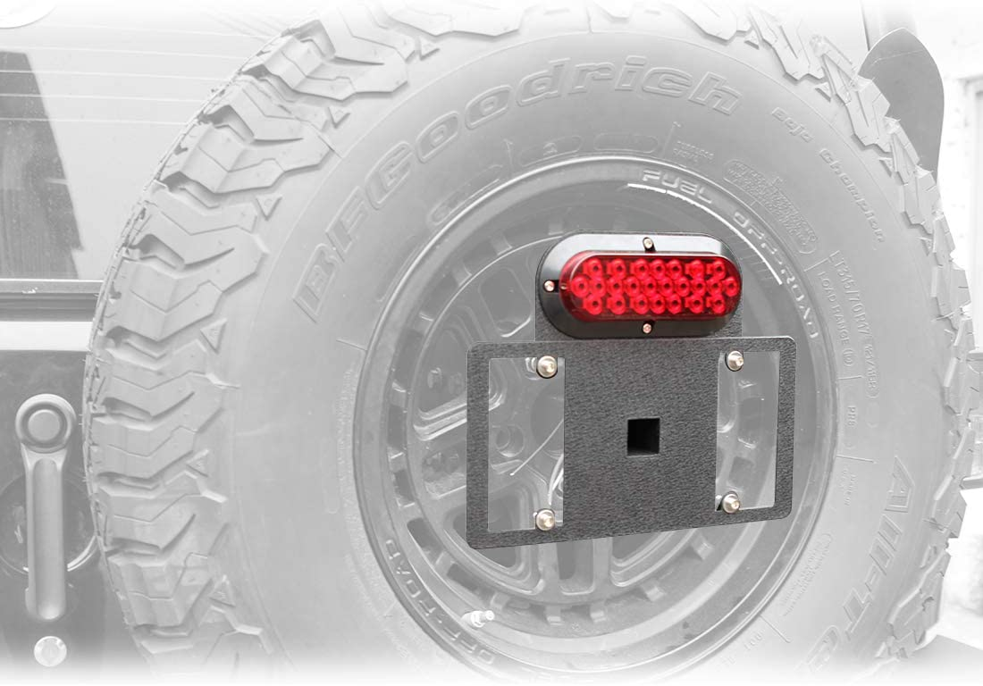 BESKE Jeep Wrangler Spare Tire Plate Mount with LED Driving Lights and Third Brake Lights Spare Tire Plate Mount for Jeep Wrangler 1997-2018 TJ YJ JK JKU /& Unlimited