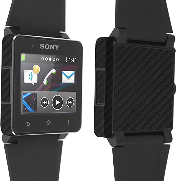 Sony Smartwatch 2 Screen Protector + Carbon Fiber Full Body, Skinomi TechSkin Carbon Fiber Skin for Sony Smartwatch 2 with Anti-Bubble Clear Film ...