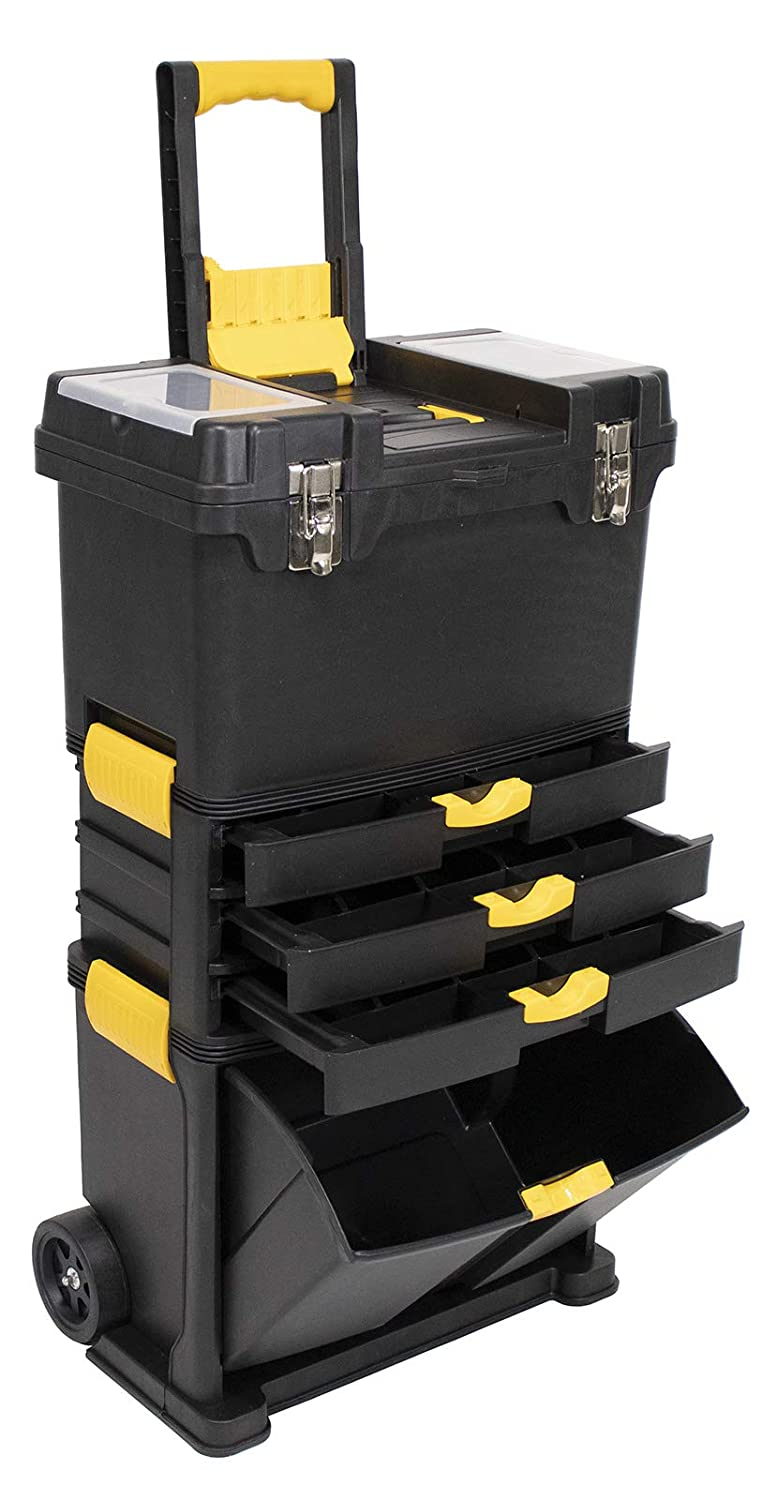 Erie Tools Heavy-Duty Portable Toolbox Organizer with Foldable Auto-Locking Handle /& Detachable Storage Compartments 3