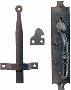 "Nuvo Iron Antique Look Colonial Thumb Latch Designed for up to 2-3//8/"" Thick Gate Black"
