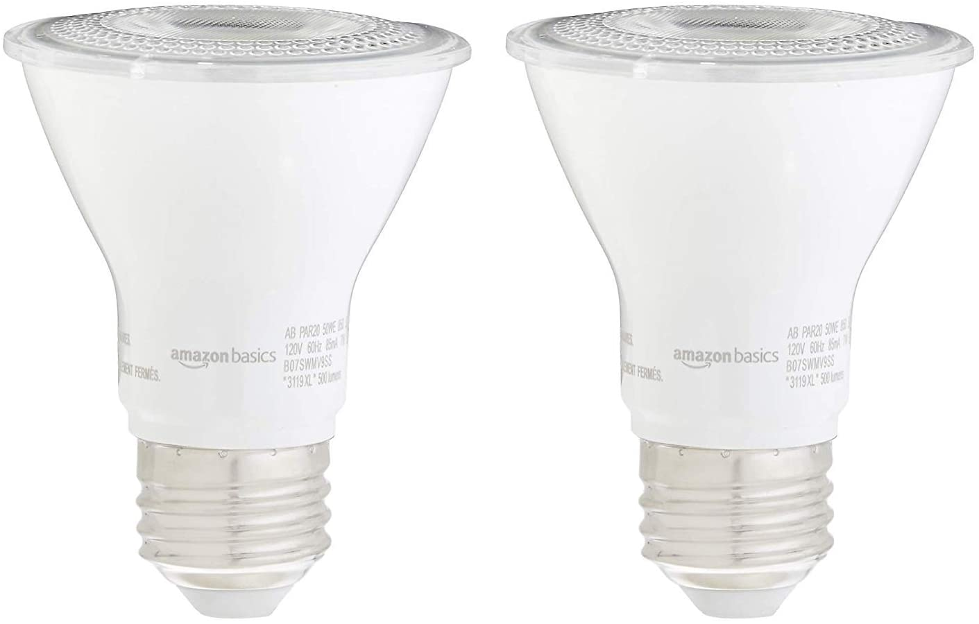 AmazonBasics 50W Equivalent, Daylight, Dimmable, 10,000 Hour Lifetime, PAR20 LED Light Bulb | 2-Pack