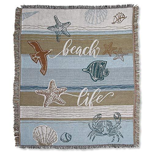 (Lillian Vernon Coastal Woven Throw Blanket- 50 inch by 60 Inch)