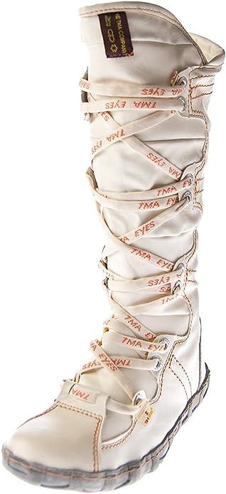 TMA Leder Stiefel Damen Schuhe gefüttert Winter Lederstiefel Schwarz Gelb Blau Rot Grün Weiß Braun
