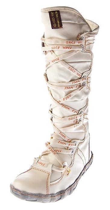 Leder Stiefel Damen Weiß Schuhe echt Leder Winter TMA Stiefel gefüttert Gr.  36 b8920d3400