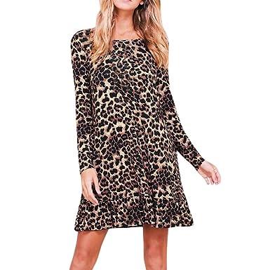90495401642 kingko®Damen Übergröße Leopard-Tierdruck-Langarm-Swing-Kleid Tier Leopard  Print Stretch Langarm Bodycon Midikleid Rundhals Casual Loose T-Shirt Kleid   ...