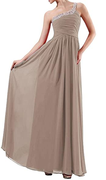 Endofjune Single Shoulder Chiffon Ruffle Beaded Prom Dress US-6 Light Brown