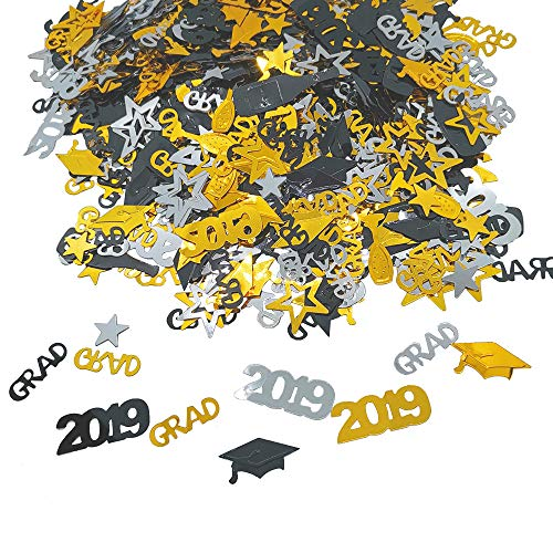 Confetti For Graduation Party Supplies - 2.1 oz | Perfect Graduation Decoration for Grad Party | Graduation Table Decorations | Graduations Decorations 2019 | Gold Black Silver, Pack of 1000 -
