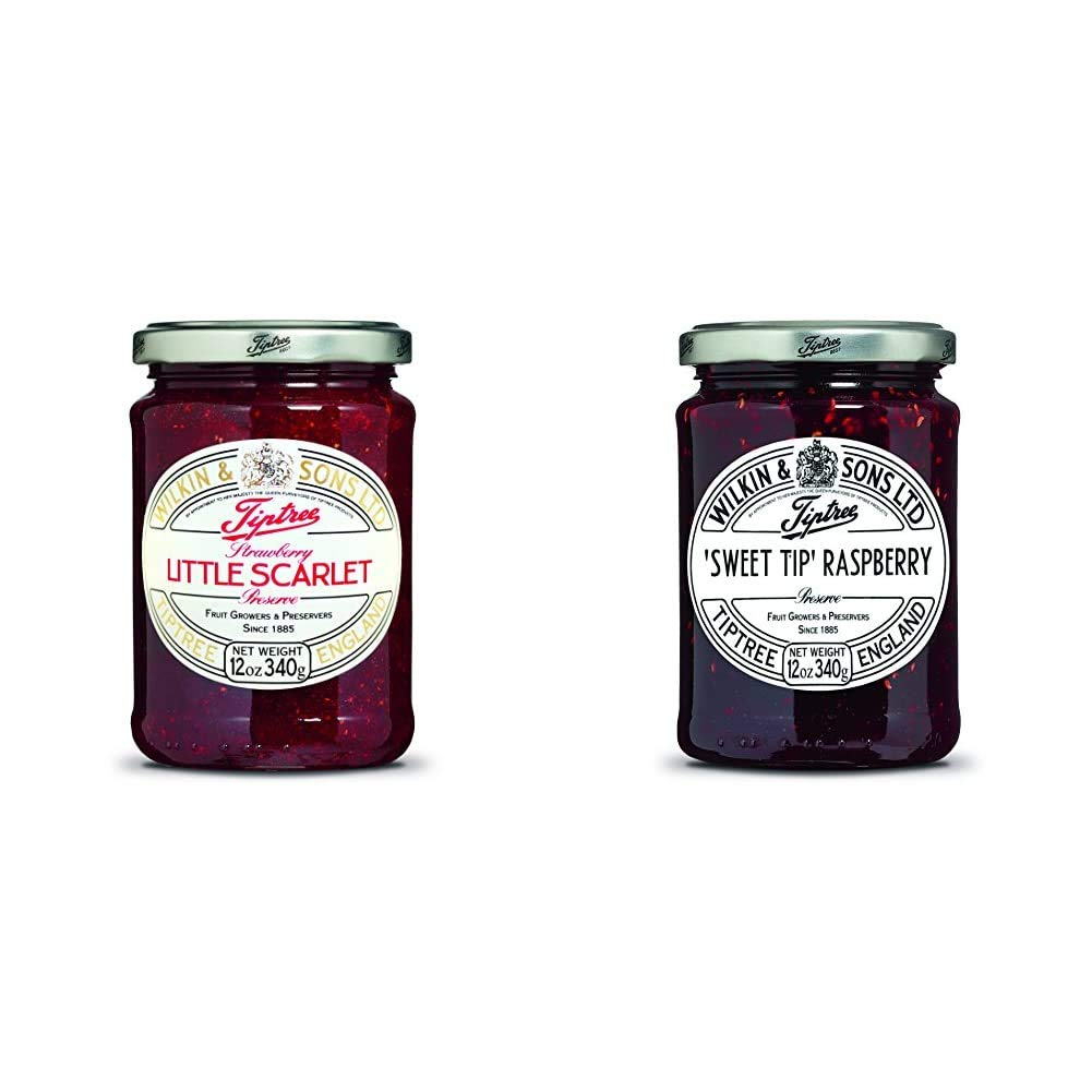 Tiptree Little Scarlet Strawberry Preserve, 12 Ounce Jar & Sweet Tip Raspberry Preserve, 12 Ounce Jar