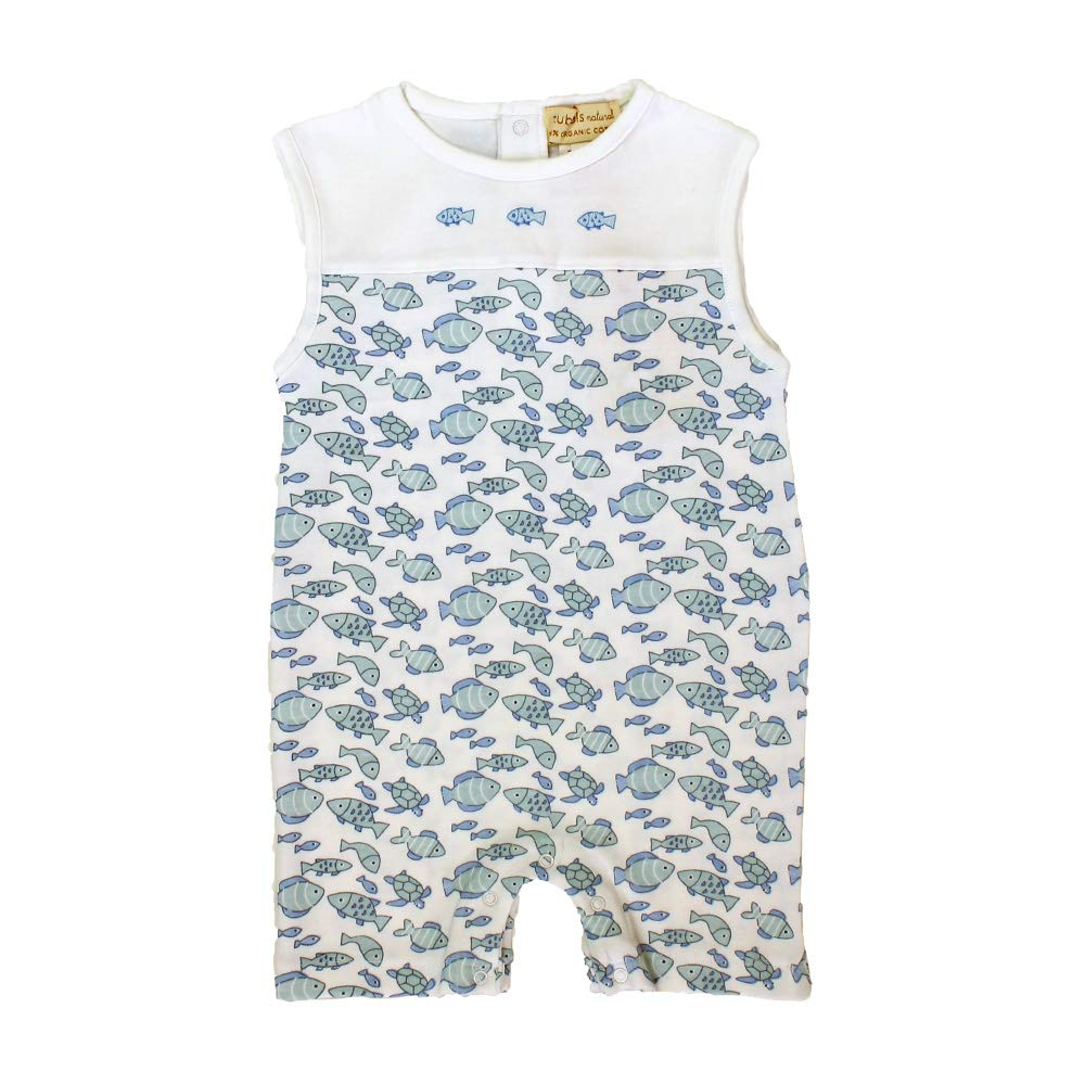Blue Zubels Baby Boys/' Knit Organic Fish Print Romper with Matching Fish Rattle