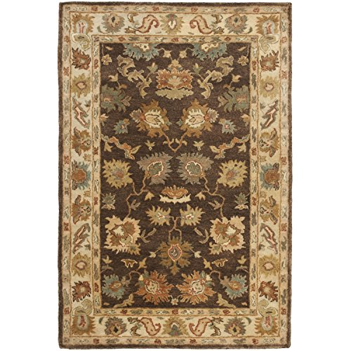 Safavieh Bergama Collection BRG136B Handmade Brown and Ivory Premium Wool Area Rug (4' x - 4' Collection Bergama