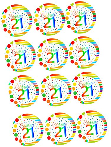 - CakeSupplyShop Item#RE3-021 Happy 21st Birthday 3inch Rainbow Edible Cupcake / Cookie Frosting Image Toppers -12ct