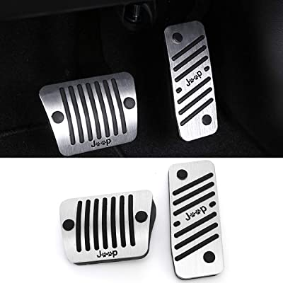 No Drill Gas Brake Pedal Compatible with Jeep Cherokee, Jaronx Aluminum Alloy Anti-slip AT Accelerator Pedal Covers Brake Pedal Pads (Compatible with:Jeep Cherokee 2014-2020): Automotive