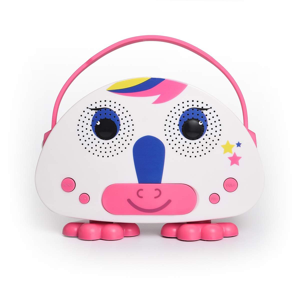 HowQ Outdoor Toys Karaoke Machine , Portable Kids Karaoke Bluetooth Speaker Wireless Cartoon Speaker for Kids for Indoor Toys Travel Activities with Microphone Karaoke Machine(Pink-White) by HowQ (Image #2)
