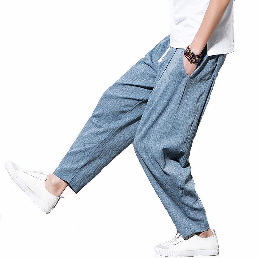 TT Global Sommer Mode Leinen Hose Herren Regulär Elegante