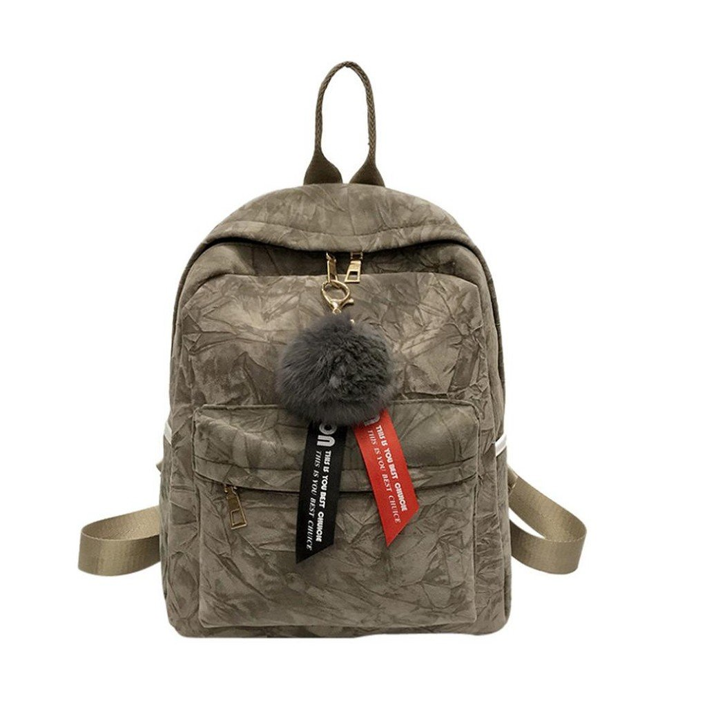 Creazrise Women Backpack,Women'S Corduroy Mini Backpack With Plush Ball Fashion Shoulder Bags (Khaki)