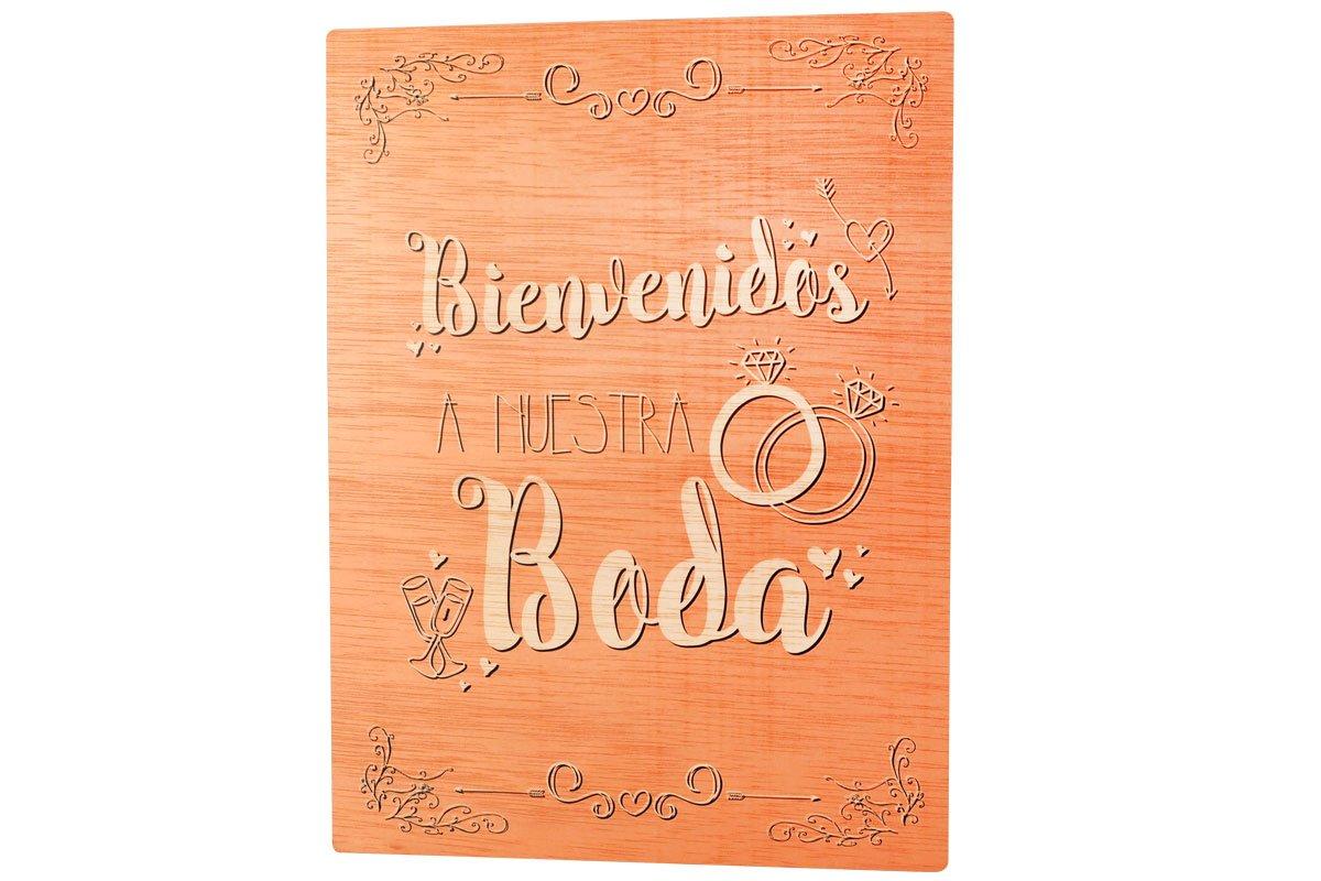 La Lluna Cartel madera BIENVENIDOS A NUESTRA BODA: Amazon.es ...